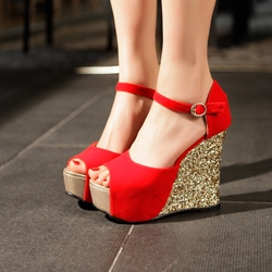Sequin Peep Toe Wedge Heels