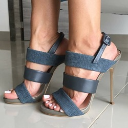 Plain Open Toe Slingback Buckle Sandals