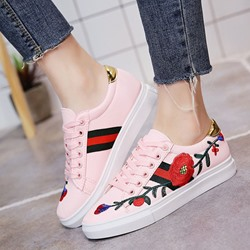 Floral Embroidery Platform Lace-Up Women's Sneaker