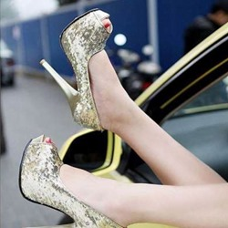 Slip-On Sequin Platform Peep Toe Banquet Stiletto Heels