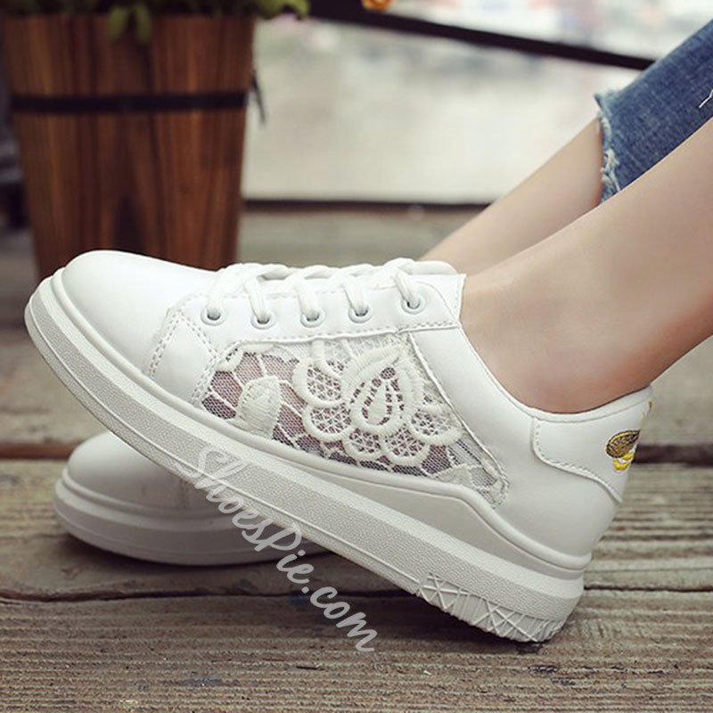 Lace Embroidery Platform Lace-Up Women's Sneaker