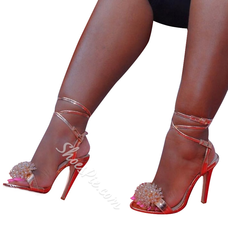 Open Toe Ankle Strap Stiletto Heel Sandals