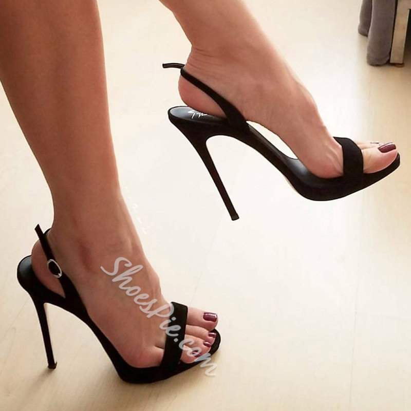 Banquet Black Slingback Strap Stiletto Heel Dress Sandals