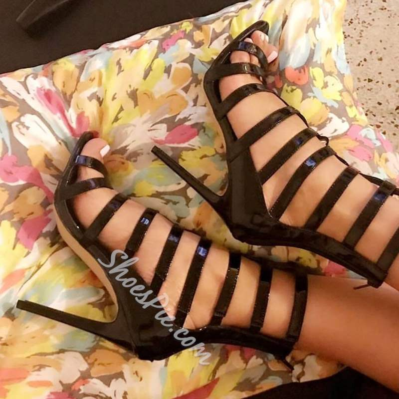Black Open Toe Zipper Stiletto Heel Sandals