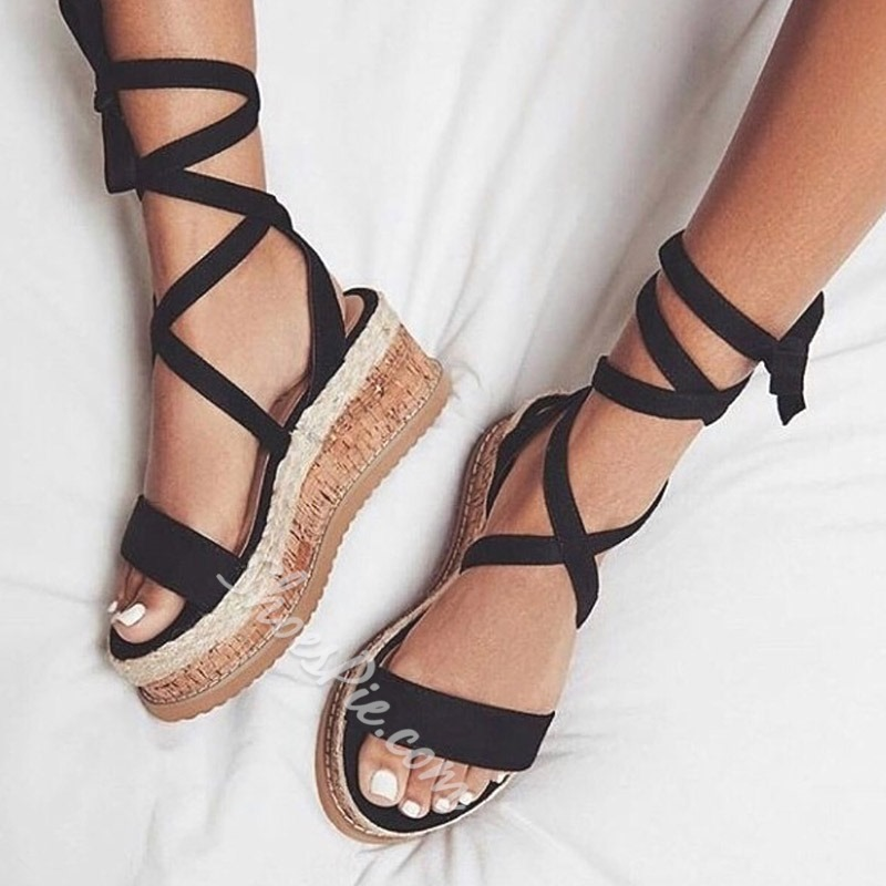 b3865db4fc3 Black Plain Open Toe Lace-Up Platform Sandals- Shoespie.com