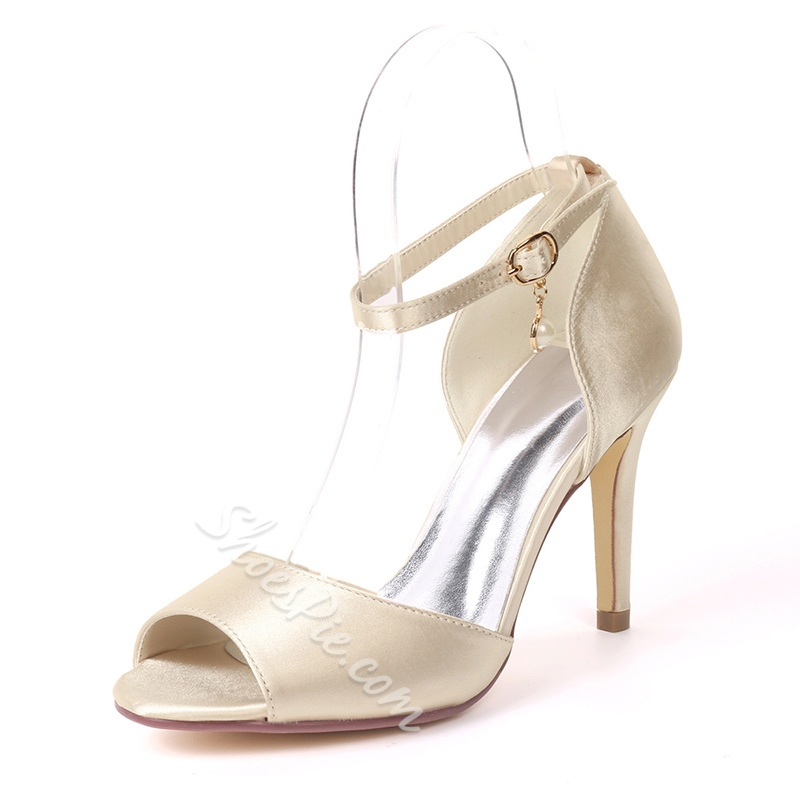 Peep Toe Line-Style Buckle Wedding Shoes