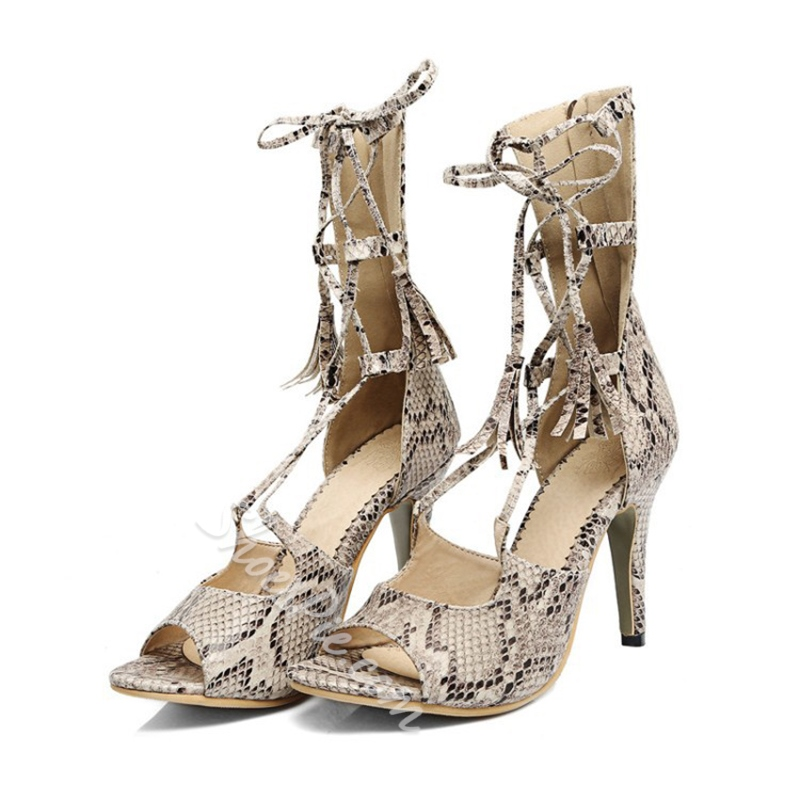 Cross Strap Serpentine Stiletto Heel Dress Sandals