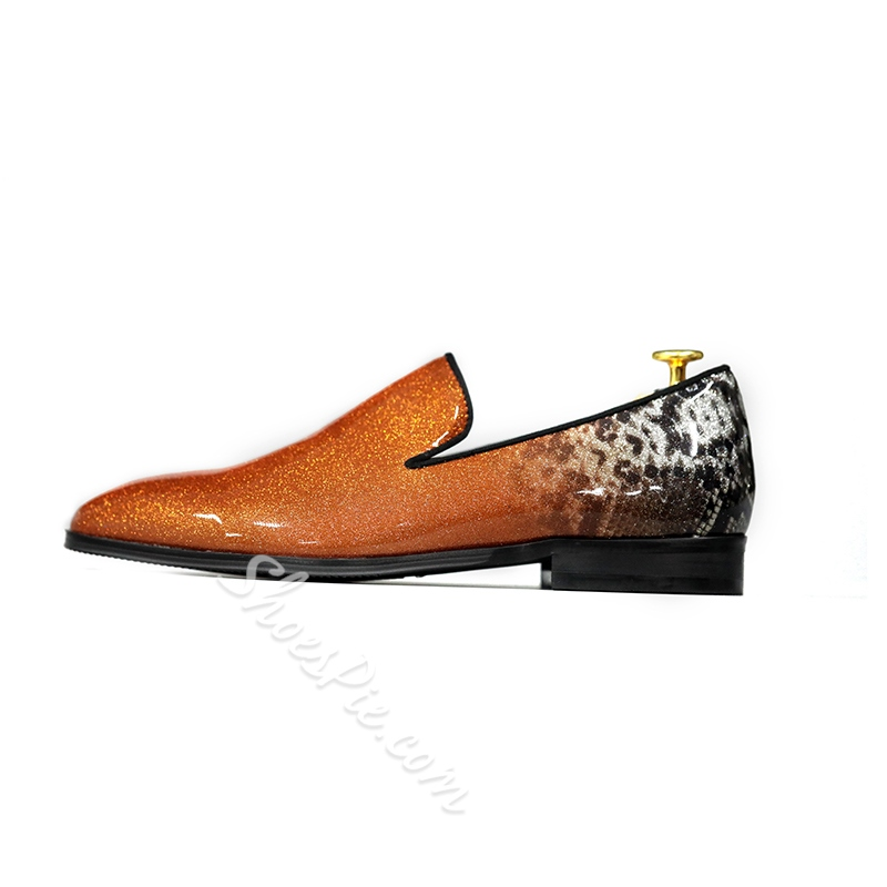Professional Print Patent Leather Men's Loafers
