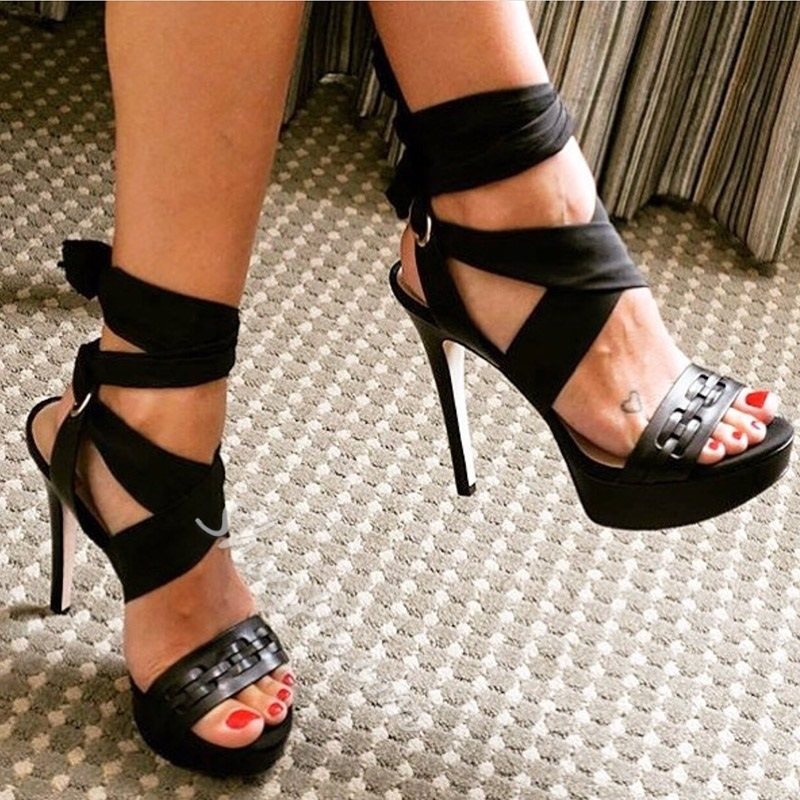 Black Open Toe Lace-Up Stiletto Heel Sandals