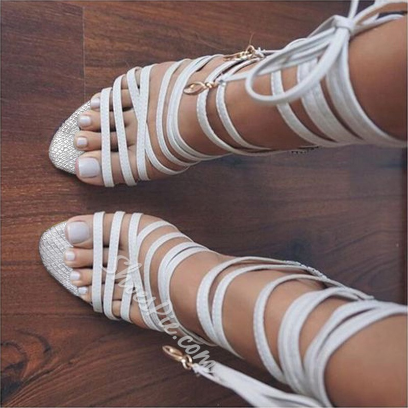 Shoespie White Wrap Up Sandals