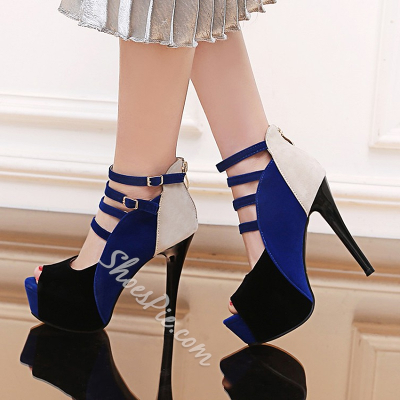 Color Block Peep Toe Platform Heels
