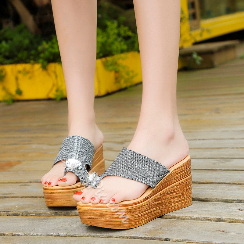Sequin Platform Slip-On Wedge Heel Sandals
