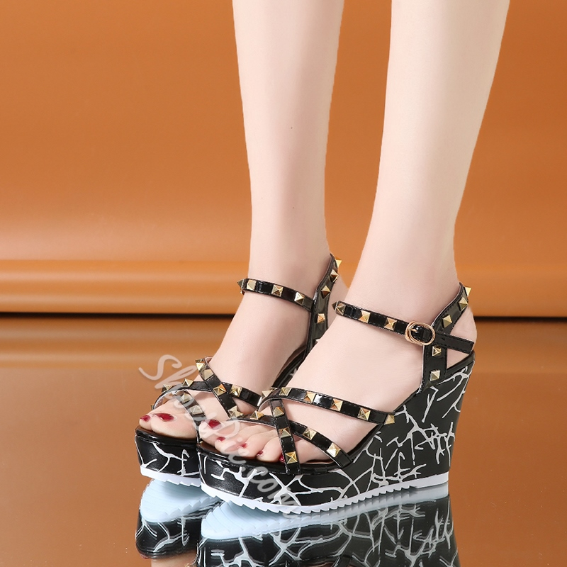 Rivet Buckle Ankle Strap Wedge Heels