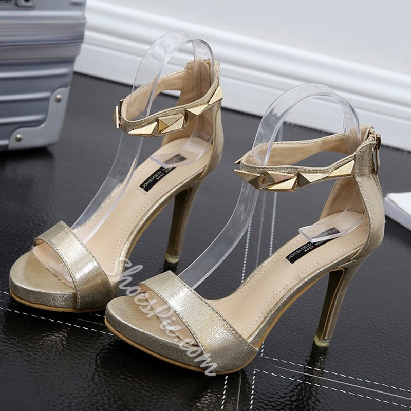 Rivet Zipper Open Toe Stiletto Heels