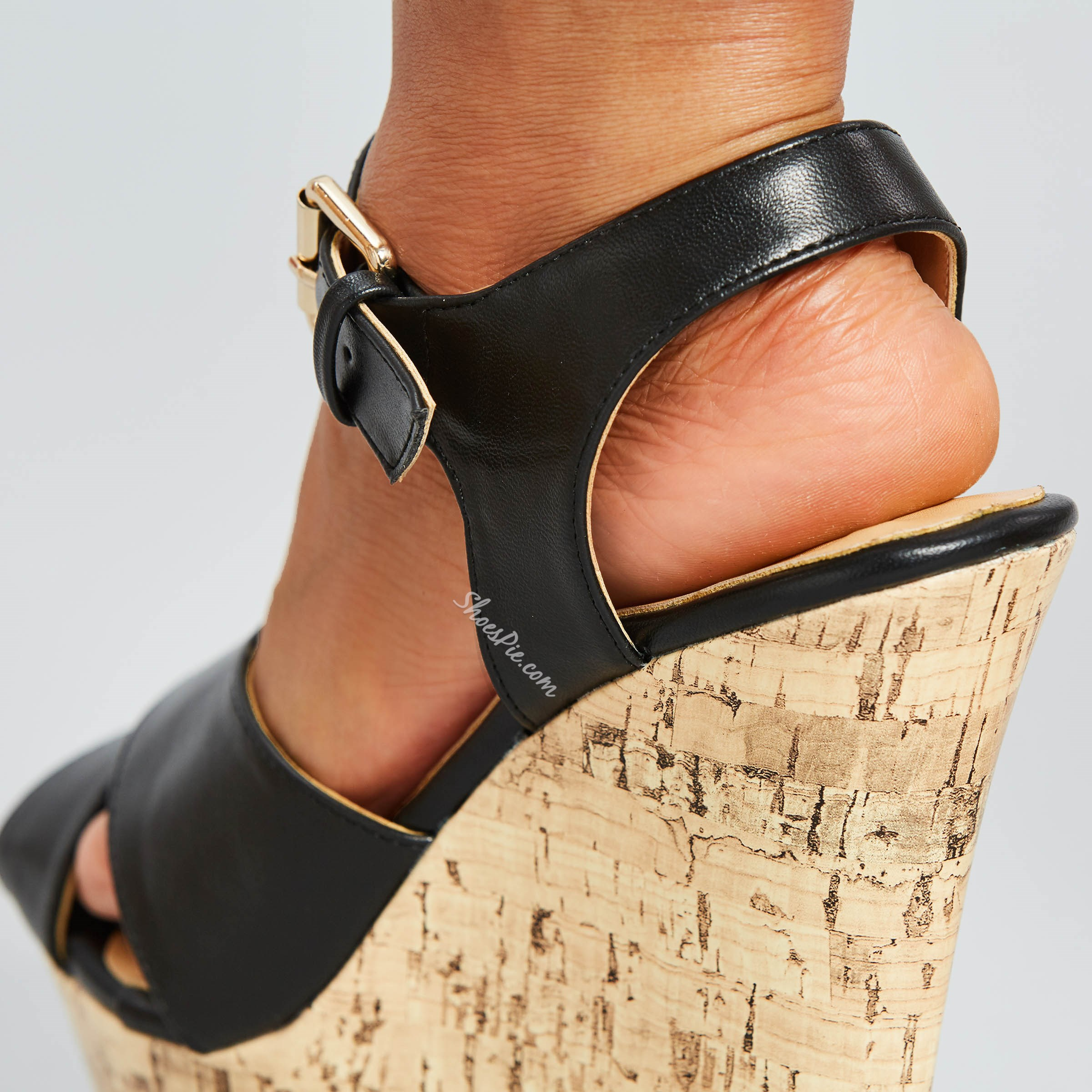 Buckle Open Toe Platform Wedge Heels