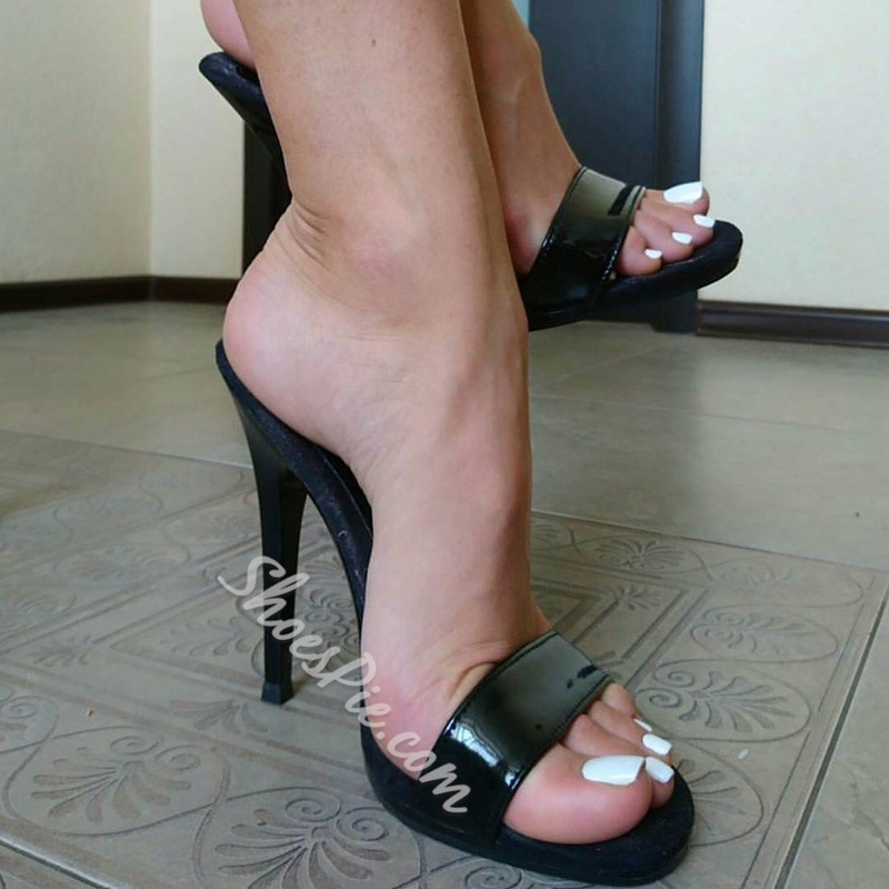 Black Open Toe Stiletto Women's Slide Sandals