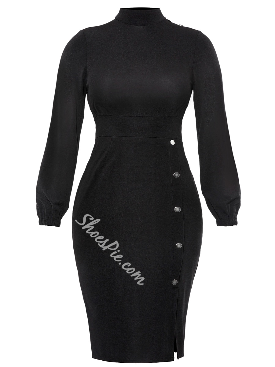 Shoespie Button Stand Collar Women' Bodycon Dress