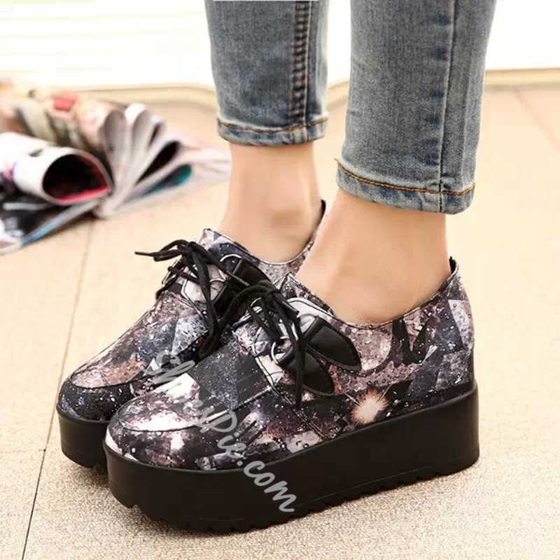 Floral Hidden Elevator Heel Women's Shoes