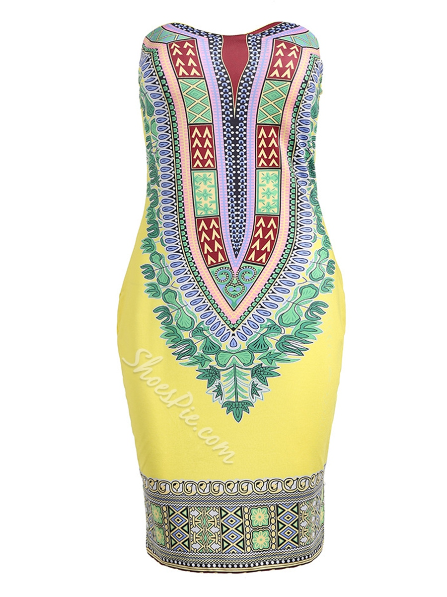 Shoespie Strapless Pullover Print Women's Bodycon Dress