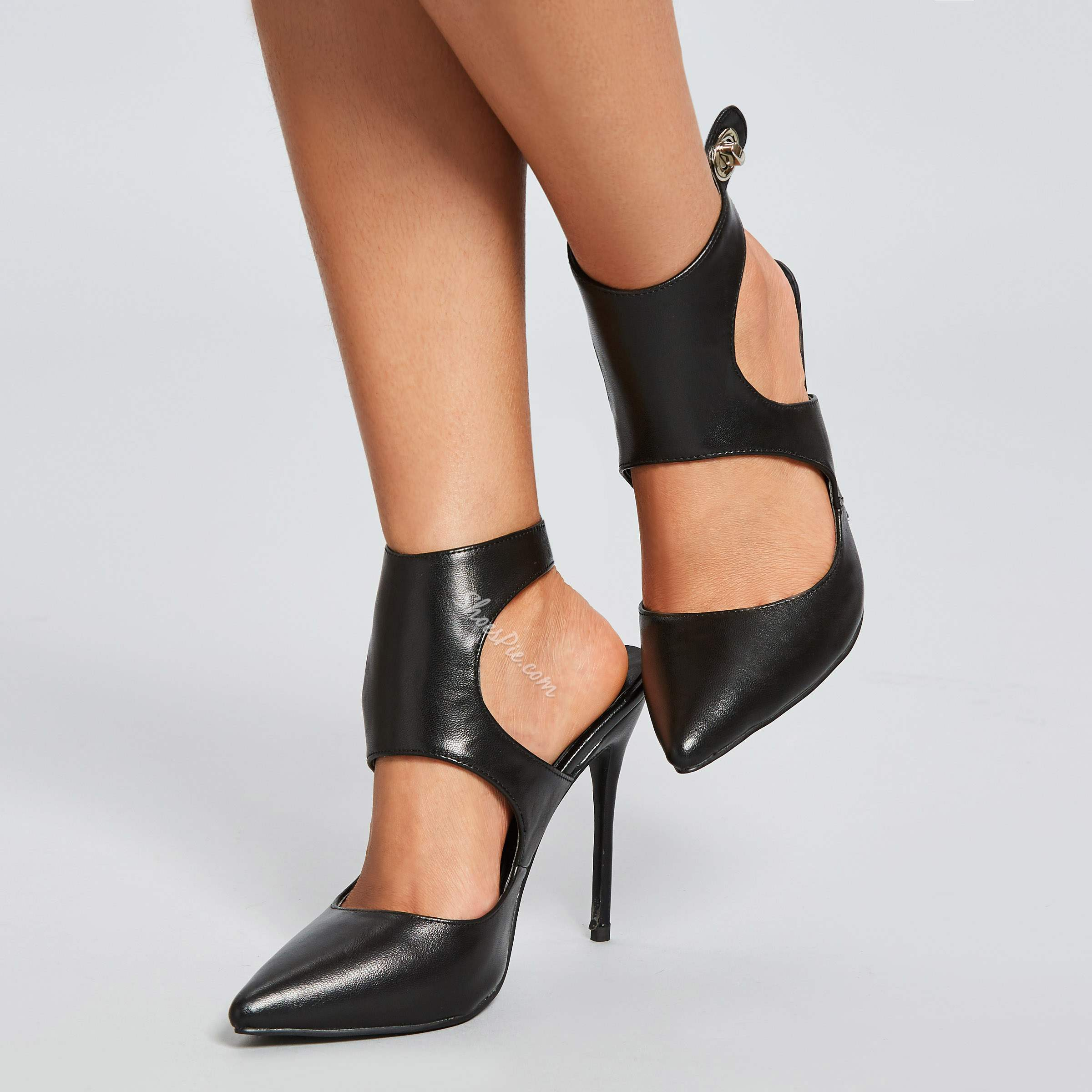 Shoespie Sexy Ankle Wrap Black Stiletto Heels