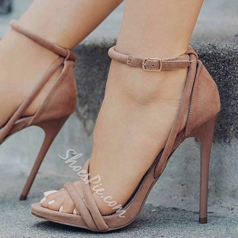 Plain Open Toe Heel Covering Stiletto Heel Sandals