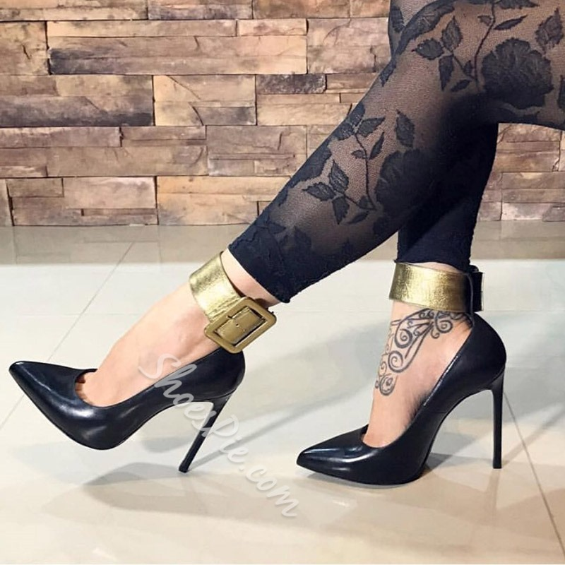 Black Line-Style Buckle Pointed Toe Stiletto Heels