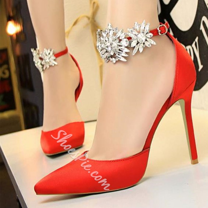 Plain Rhinestone Stiletto Heels