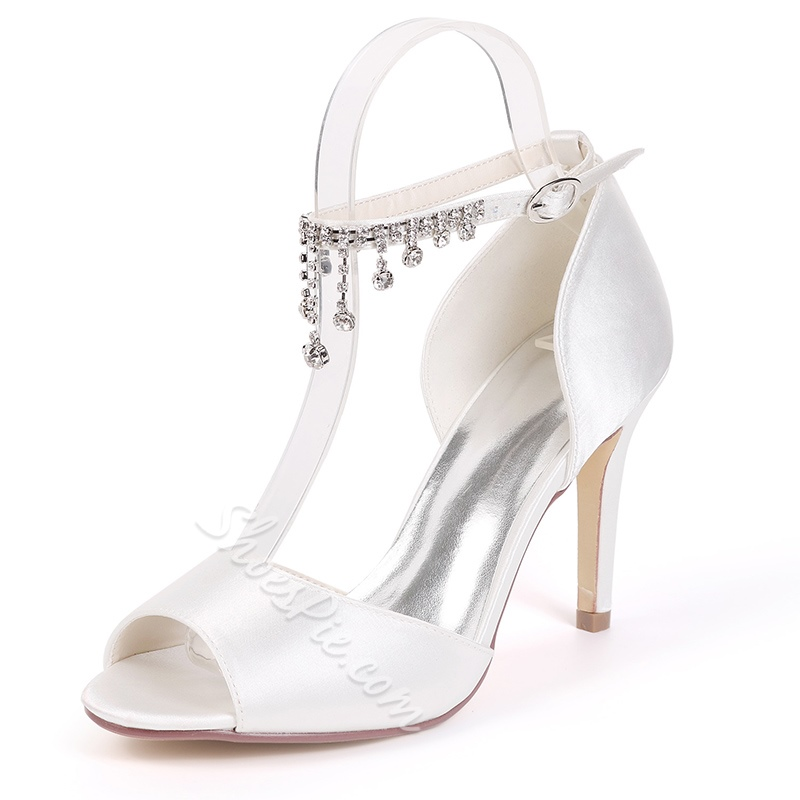 Peep Toe Rhinestone Fringe Stiletto Wedding Shoes