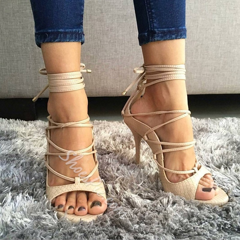 Plain Open Toe Lace-Up Stiletto Heel Sandals