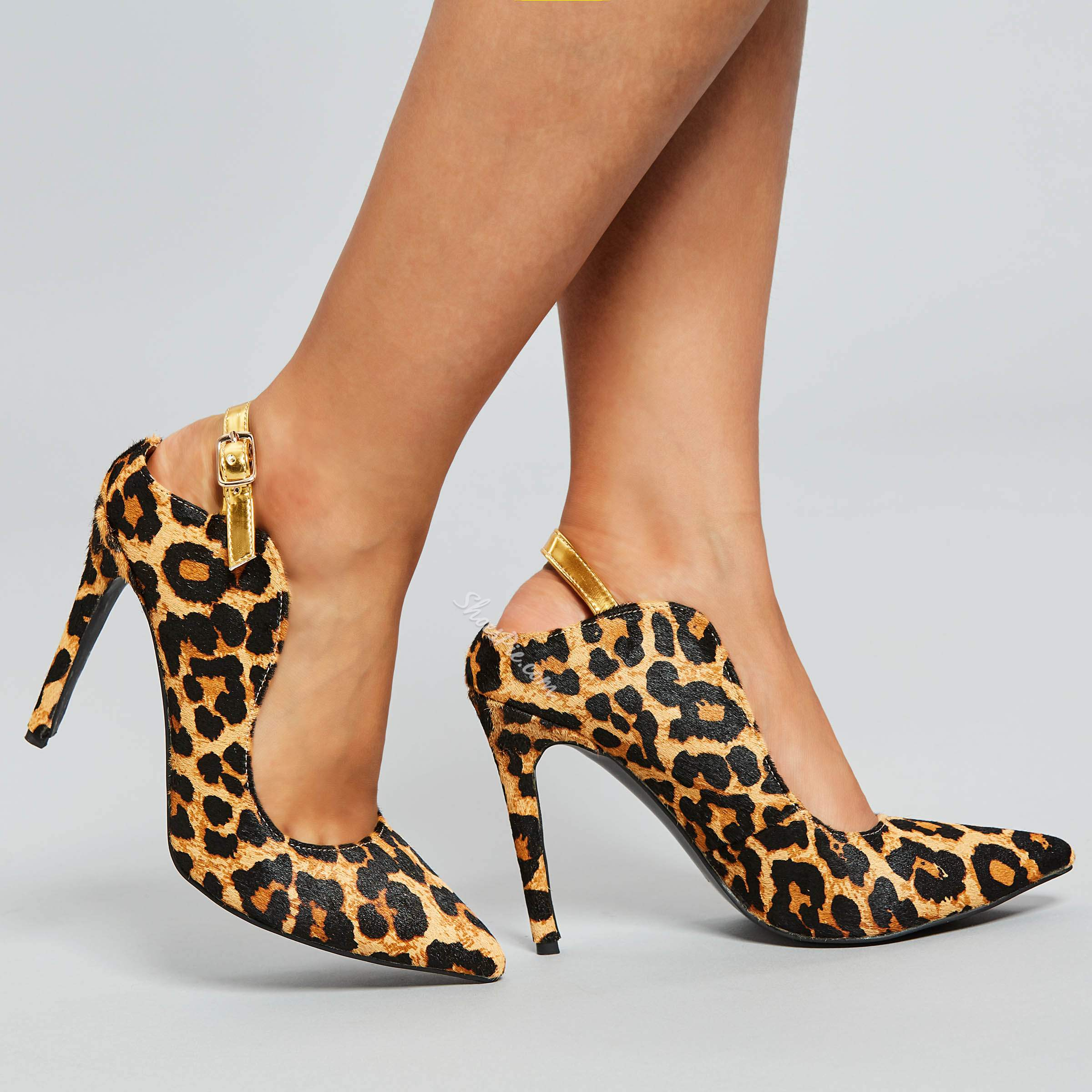 Shoespie Leopard Print Stiletto Heel Pumps