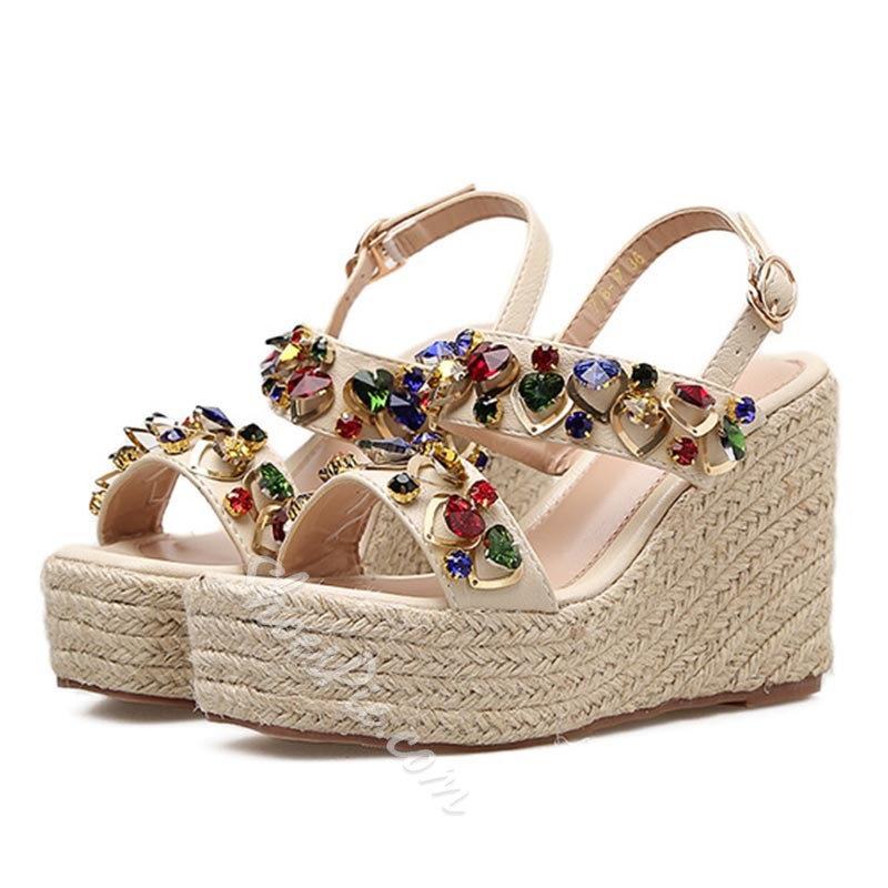 Strappy Rhinestone Wedge Heel Platform Sandals