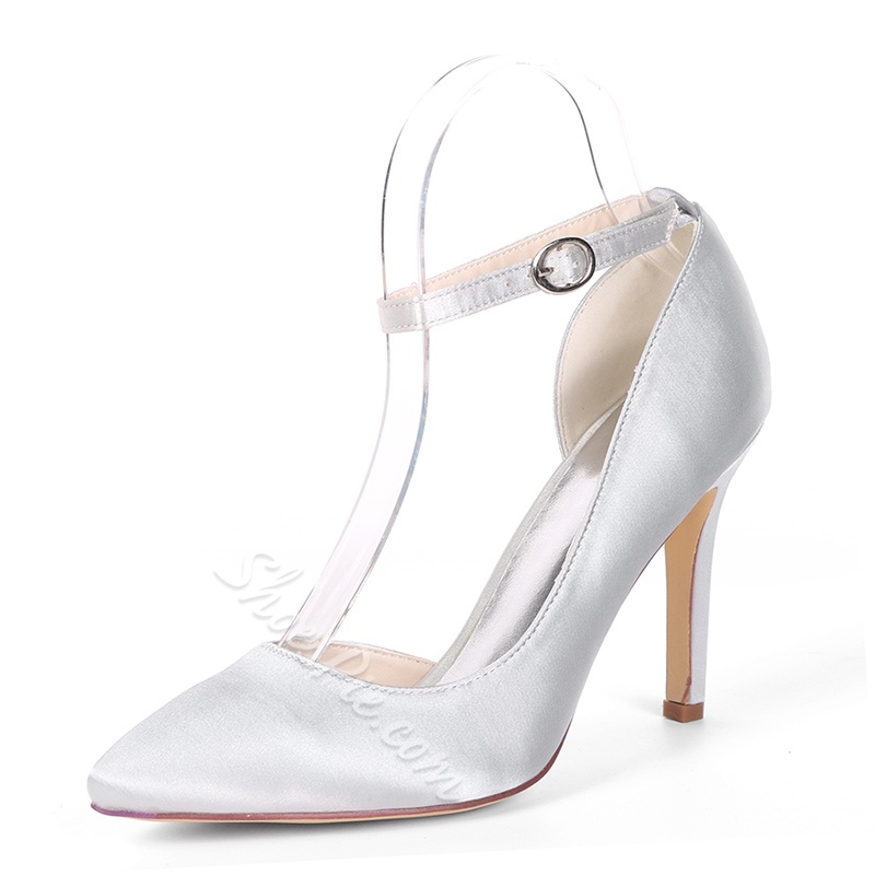 Closed Toe Line-Style Buckle Stiletto Wedding Shoes