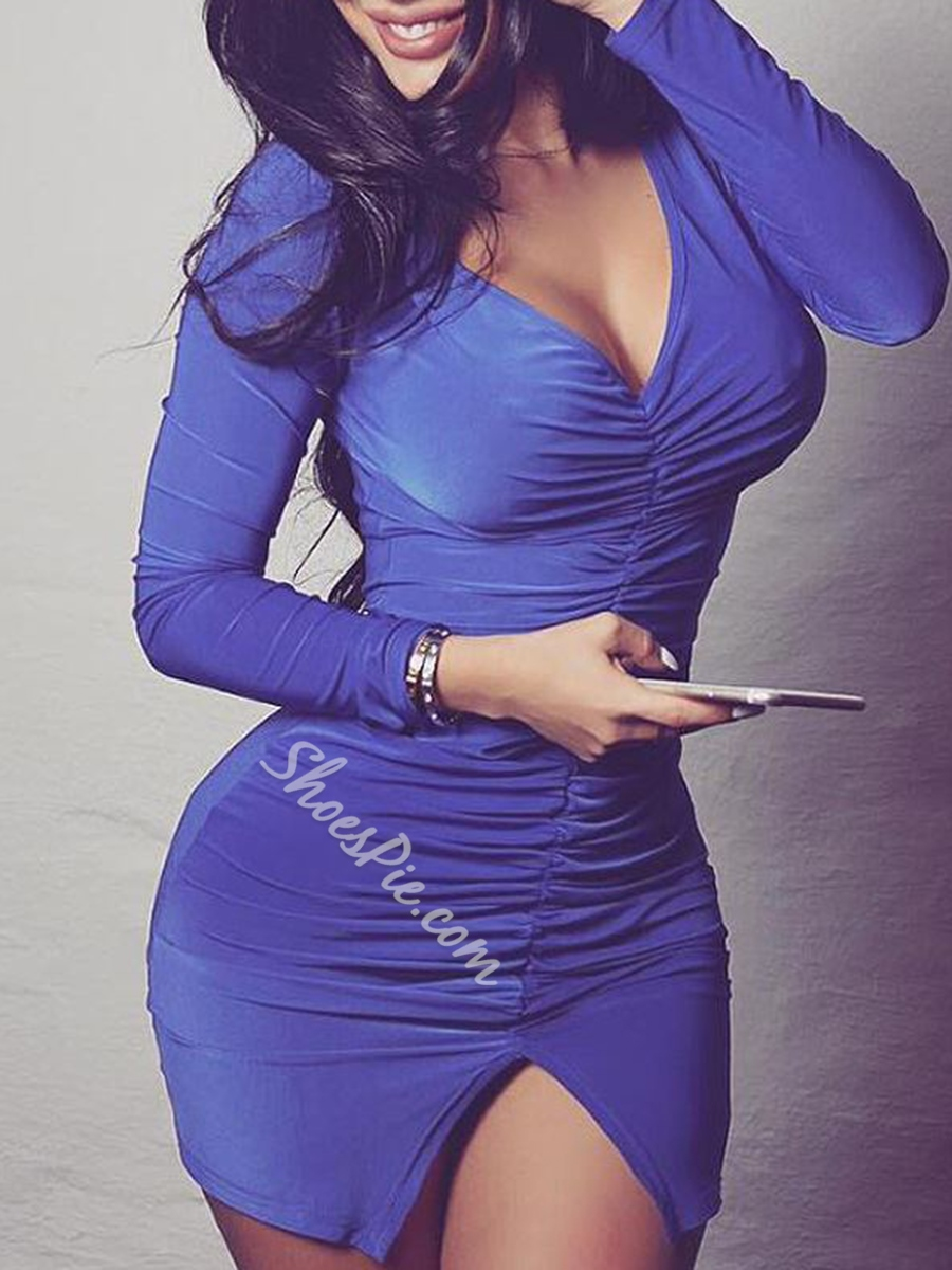 V-Neck Split Long Sleeve Bodycon Dresses
