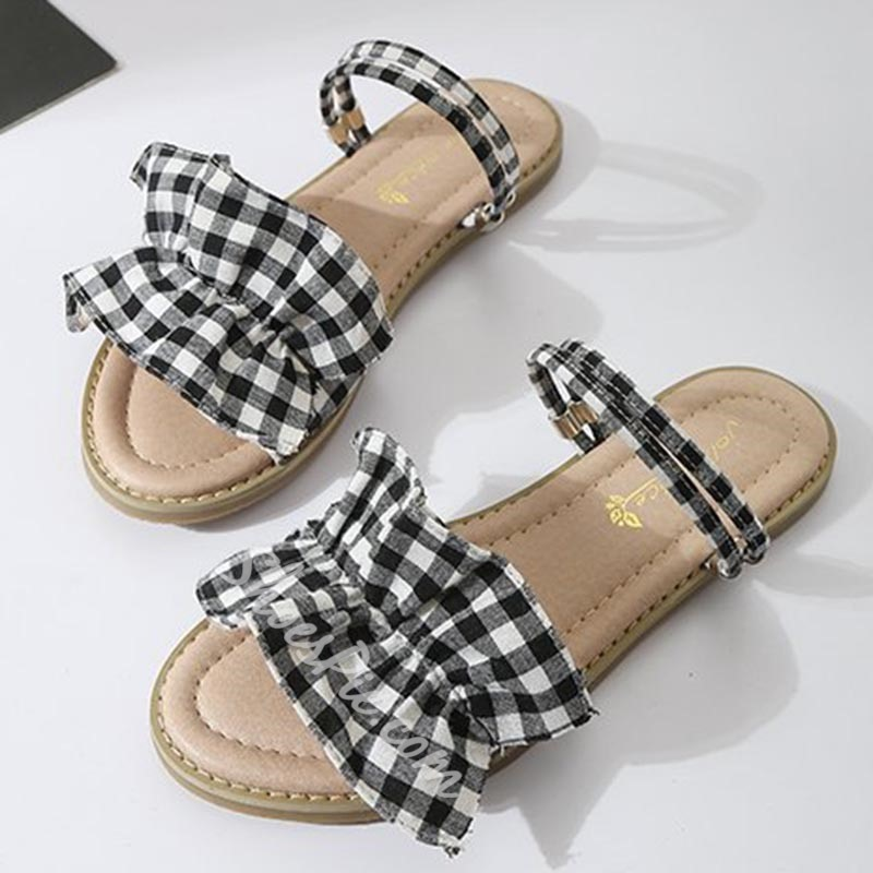 Cute Falbala Comfortable Ankle Strap Slipper