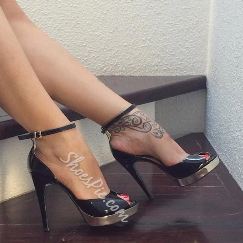 Black Peep Toe Ankle Strap Stiletto Heel Sandals
