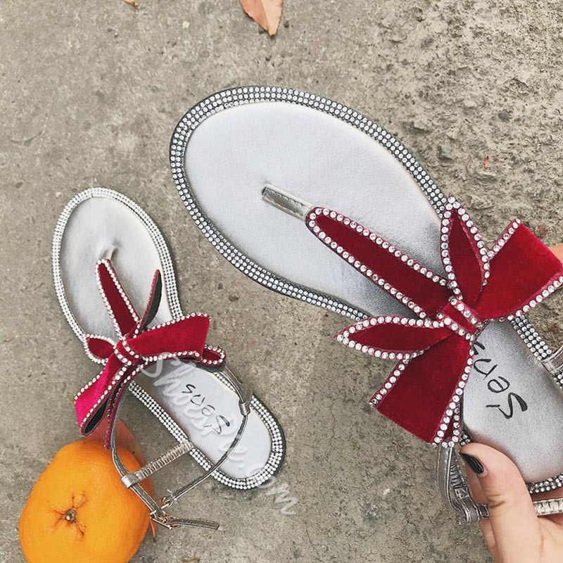 Cute Bowknot Rhinestone Strappy Thong Sandals