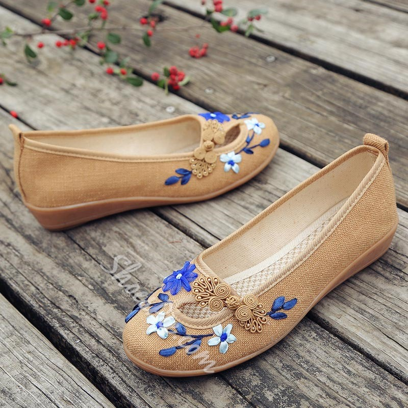 Floral Round Toe Women's Casual Shoes