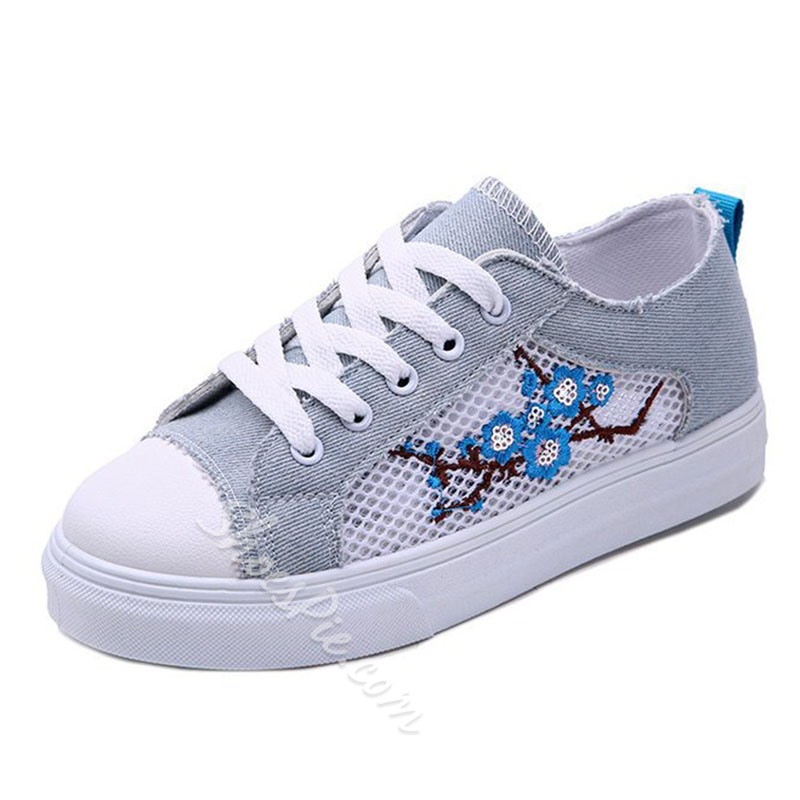 Floral Hollow Lace-Up Casual Women's Sneakers