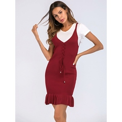 Shoespie Pullover V Neck Lace-Up Women's Bodycon Dress