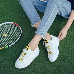 Shoespie Chic Lace-Up Color Block Sneakers