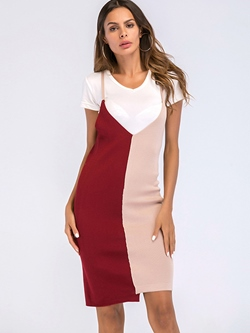 Shoespie Asymmetric Patchwork V Neck Women's Bodycon Dress
