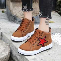 Cute Star Lace-Up Mid Upper Women's Sneakers