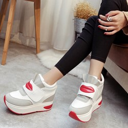 Cute Color Block Hidden Elevator Heel Sneakers