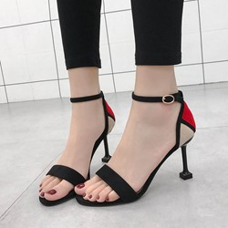 Shoespie Open Toe Line-Style Buckle Stilettos