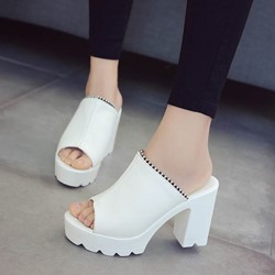 Shoespie Platform Slip-On Sexy Mules