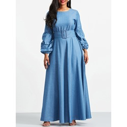 Shoespie Plain Round Neck Pullover Women's Maxi Dress