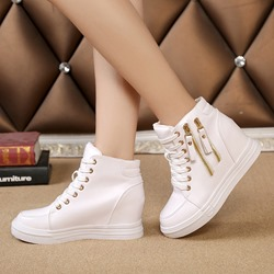 Zipper Hidden Elevator Heel Lace-Up Sneaker