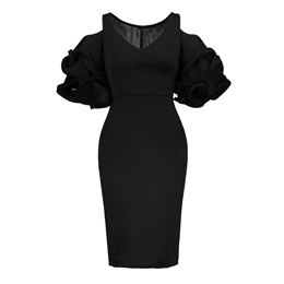 Shoespie Polyester V Neck Falbala Women's Bodycon Dress