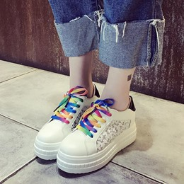 Platform Lace-Up Round Toe Women's Sneakers
