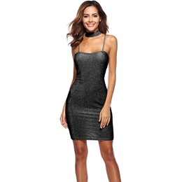 Shoespie Spaghetti Strap Plain Women's Bodycon Dress